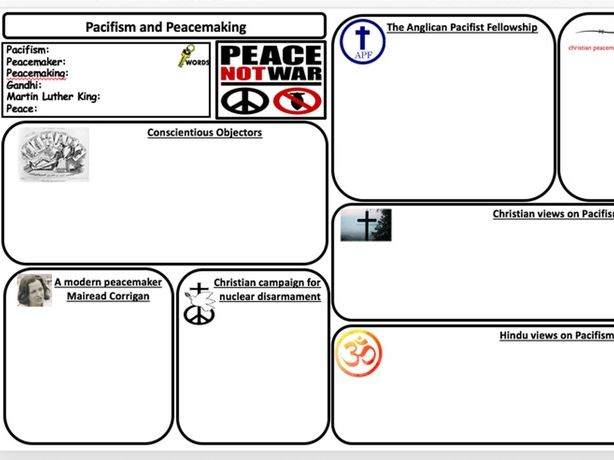 Pacifism and peacemakers textbook page activity