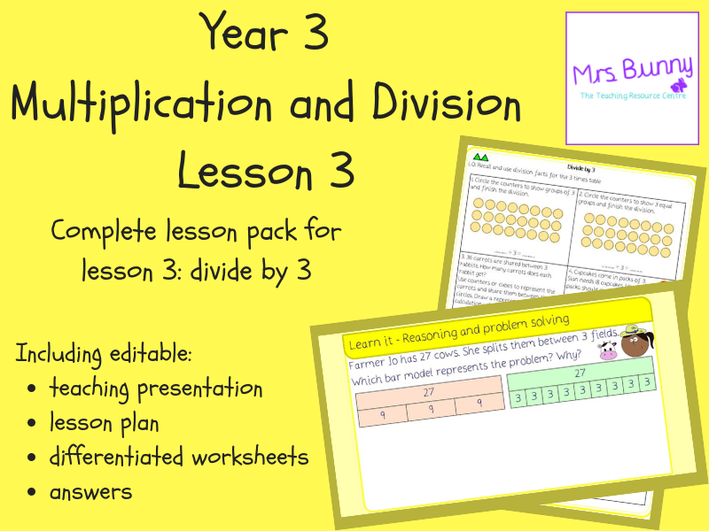 3. Multiplication and Division: divide by 3 lesson pack (Y3)