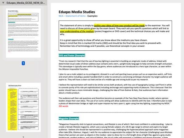 Eduqas Media Studies NEA Statement Of Aims MODEL Answers + Feedback Sheet + Targets [Double Sided]