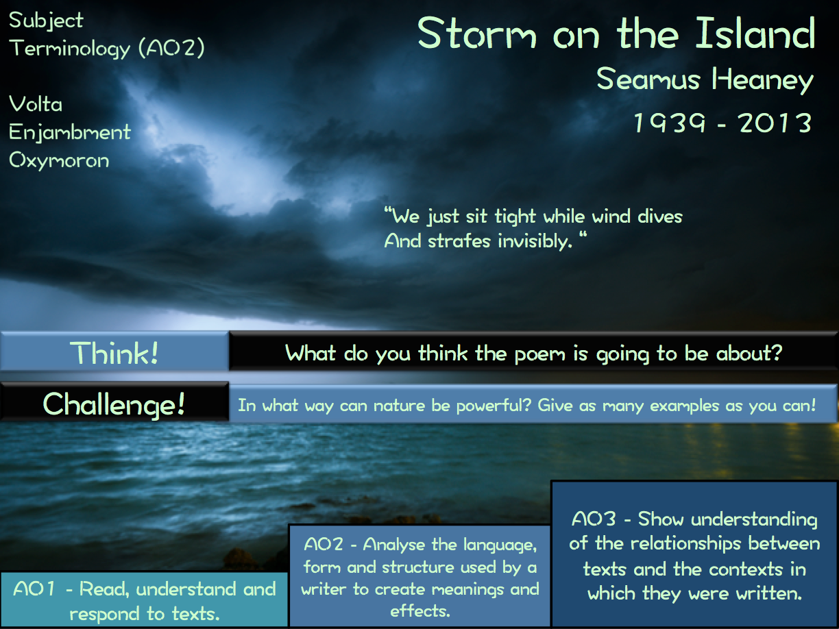 AQA Poetry -  Storm on the Island - The Prelude - Tissue