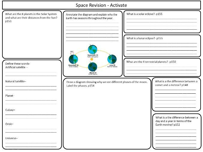 KS3 Space revision sheets for Activate Science