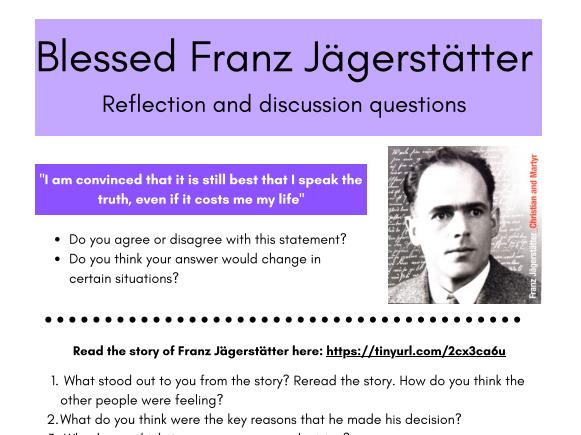 Franz and Franziska Jägerstätter reflection and discussion cards