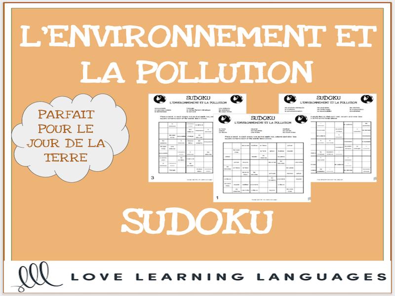 L'environnement - French sudoku games - Earth Day - Le Jour de la Terre