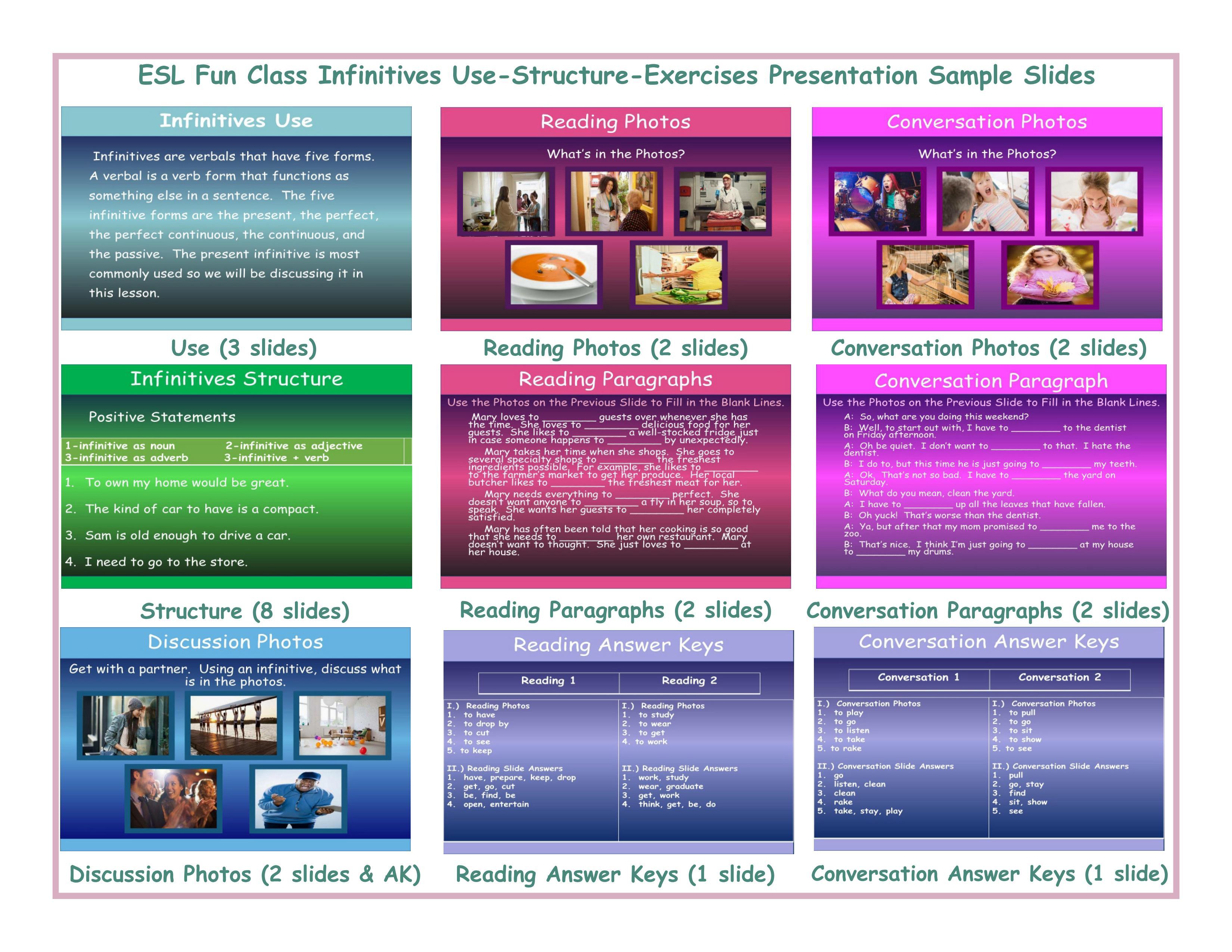 Infinitives Structure, Read, Conversation, & Discuss Presentation