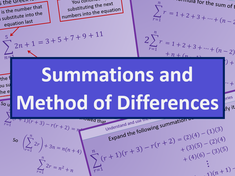 Summations and Method of Differences - AS level Further Maths