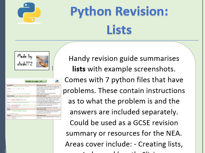 Python revision and activities - Lists