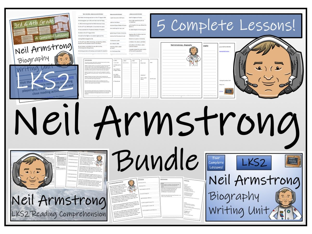 LKS2 Neil Armstrong Reading Comprehension & Biography Bundle