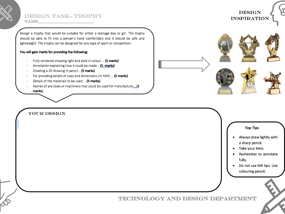 Trophy design task worksheet - Suitable for covering Technology and Design lesson