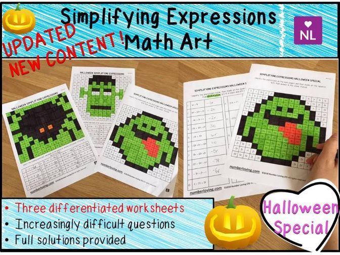 Halloween Maths: Simplifying Expressions Math Art