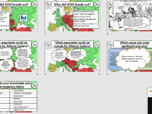 Causes of WWI assessment and feedback