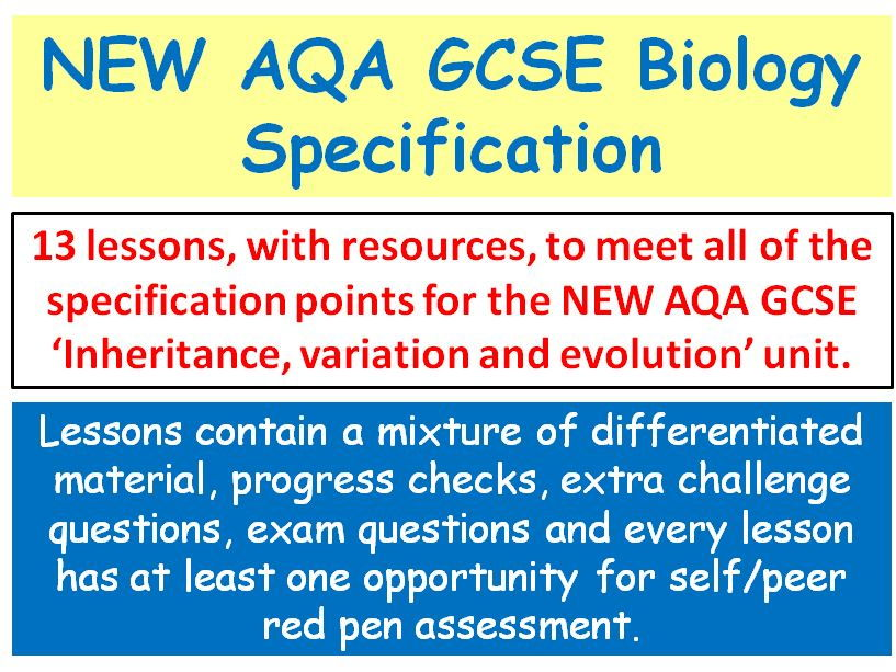 NEW AQA GCSE Biology - 'Inheritance, variation and evolution' lessons