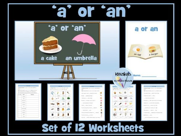 Indefinite Articles - 'a' or 'an' - Worksheets