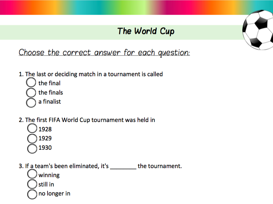 The World Cup - ESL Quiz
