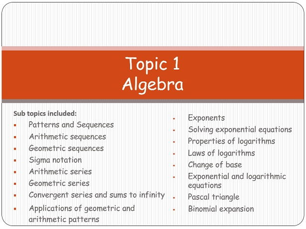 Topic 1: Algebra (Mathematics IB Standard level)
