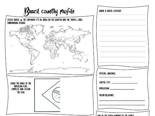 Brazil country profile lesson and differentiated worksheets