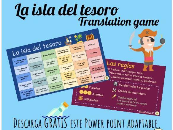 La isla del tesoro, juego de traducción. Adaptable. Treasure island, translation game