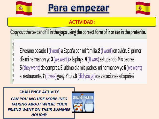 Various Starter Activities based on topic of 'de vacaciones'