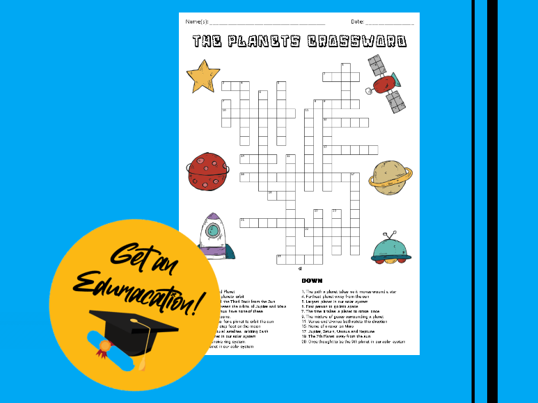 Planets Crossword Puzzle [A3]