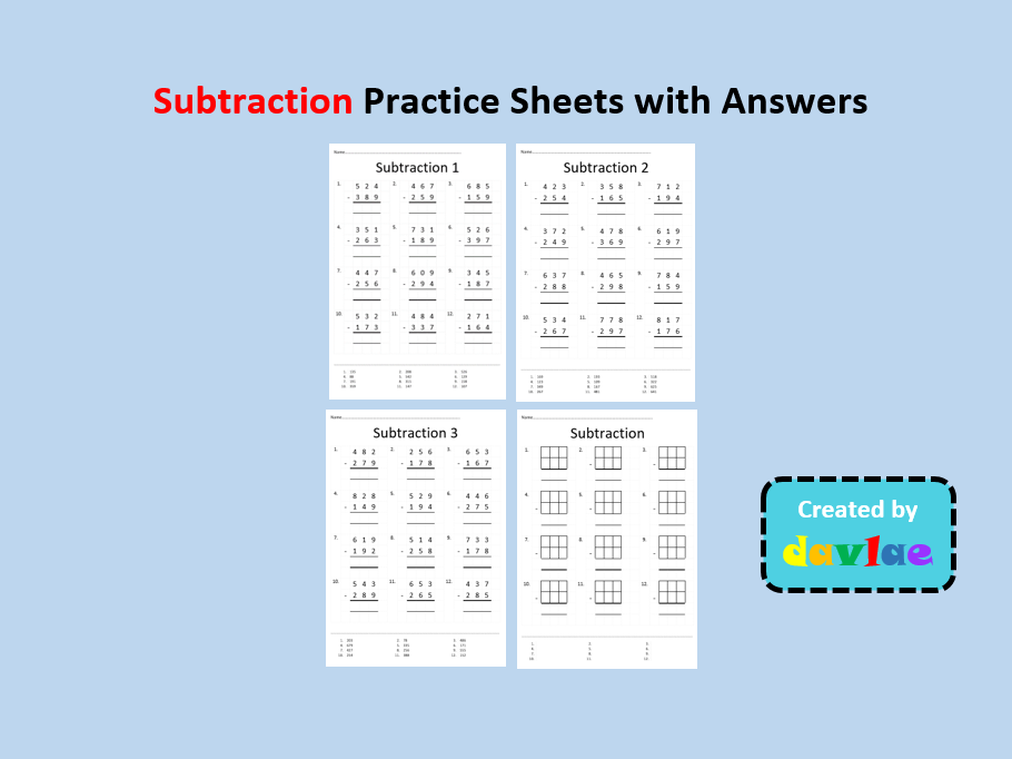 Subtraction Practice Sheets with Answers