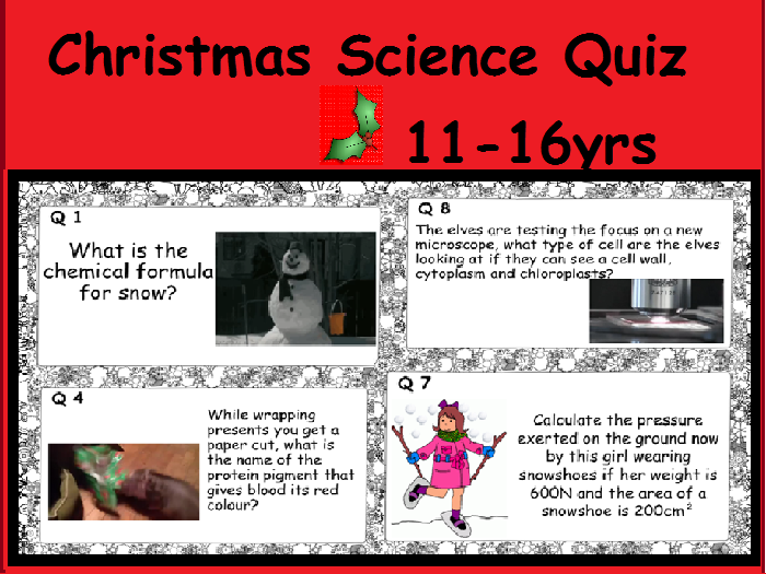 Science Christmas Quiz with ANSWERS. New Quiz