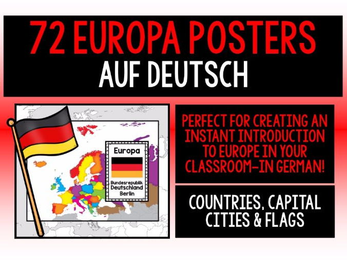 GERMAN - EUROPE 72 POSTERS PACK - COUNTRIES, CAPITAL CITIES & FLAGS