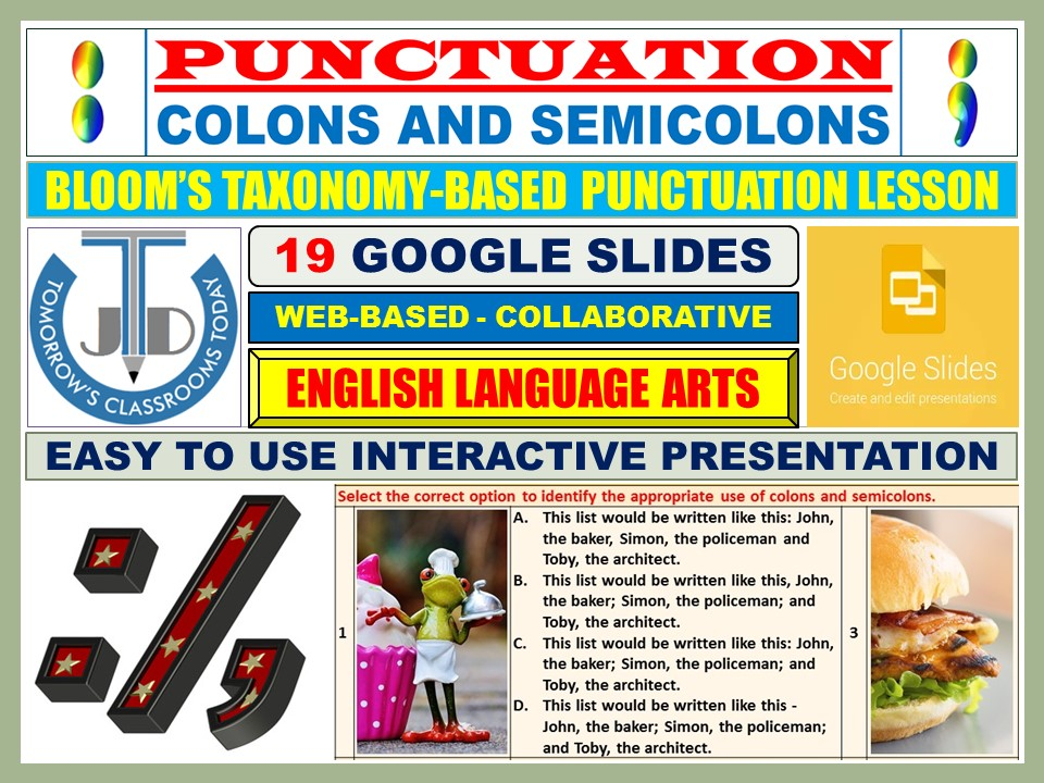 COLONS AND SEMICOLONS - PUNCTUATION: 19 GOOGLE SLIDES