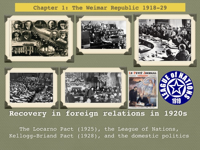 GCSE History Weimar Republic. Unit 1. Recovery in foreign relations 1920s