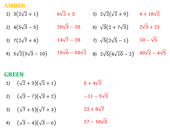 Surds with Brackets Differentiated Worksheet