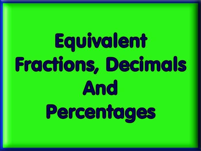 Equivalent Fractions, Decimals and Percentages Worksheet