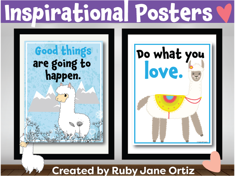 Inspirational Posters (Classroom Decor) for Back to School Bulletin Board -Llama Theme
