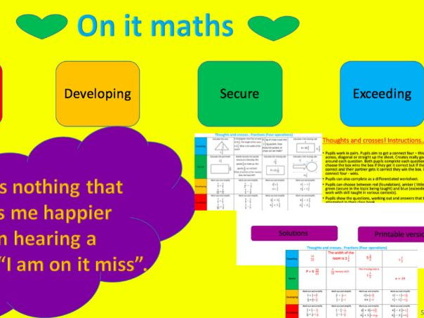Fractions - four operations foundation tier thoughts and crosses