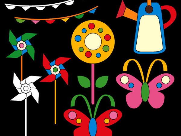 Fun Spring Garden Clip art - teacher resource clipart