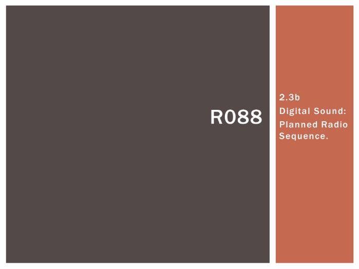 R088 - Creating a Digital Sound Sequence, PRS [LO2.3b], CAMNATS, Creative iMedia Lvls 1/2