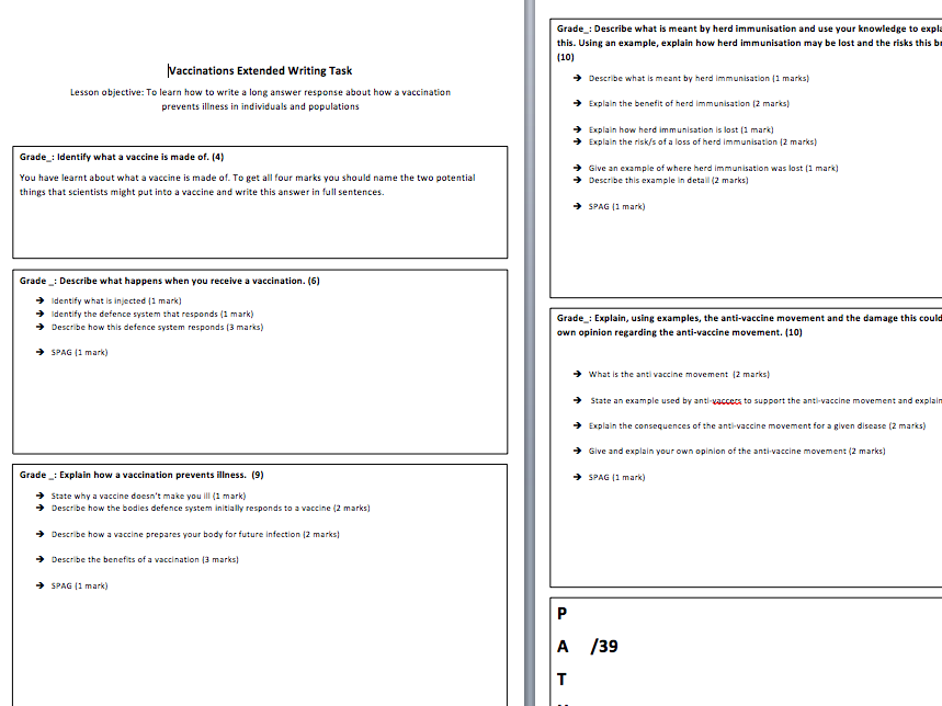 Vaccinations Extended Writing Task - AQA Trilogy
