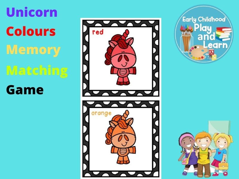 Unicorn Colours Memory Matching Game UK