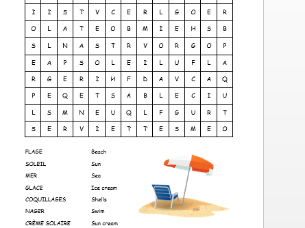At the beach French wordsearch