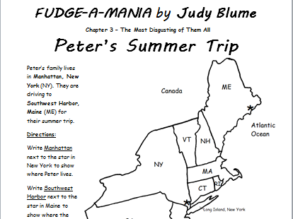 Summer Reading: Fudge-A-Mania - Printable Handouts - Reading Comprehension and Geography Combo