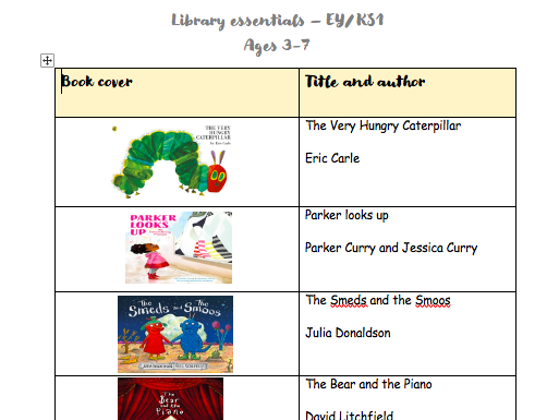 Library books essentials - Early Years & KS1