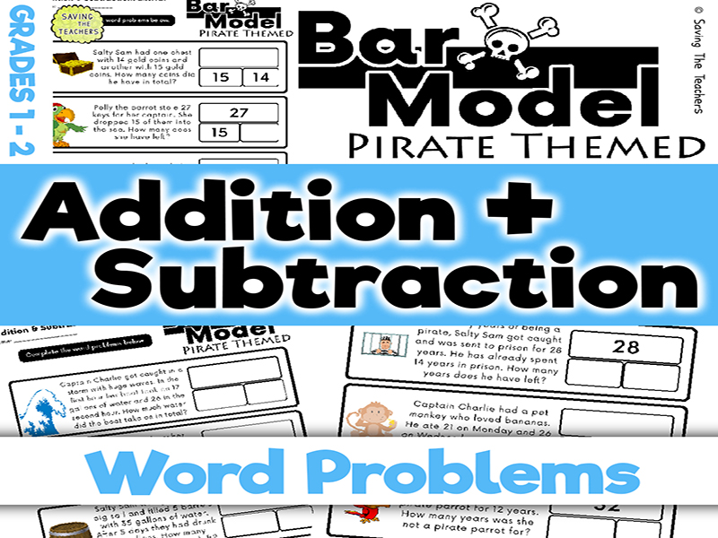 Pirates: Addition and Subtraction Bar Model Word Problems: Years 2 - 3