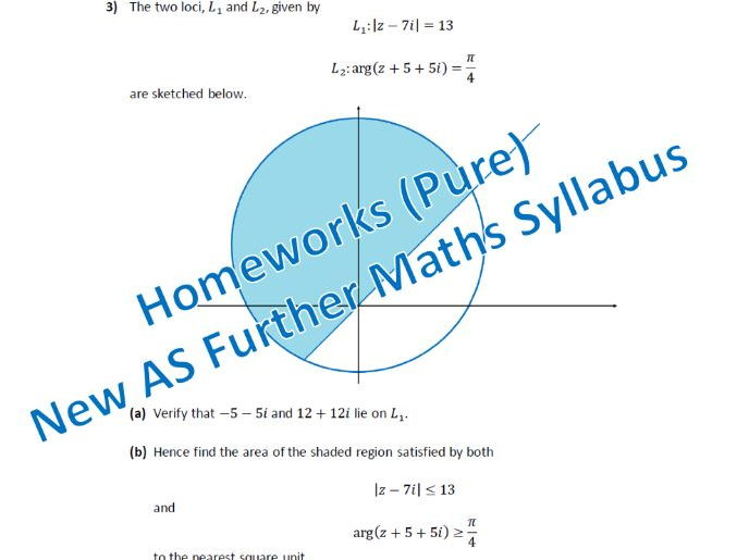 Homeworks (Pure) - New AS Further Maths Syllabus