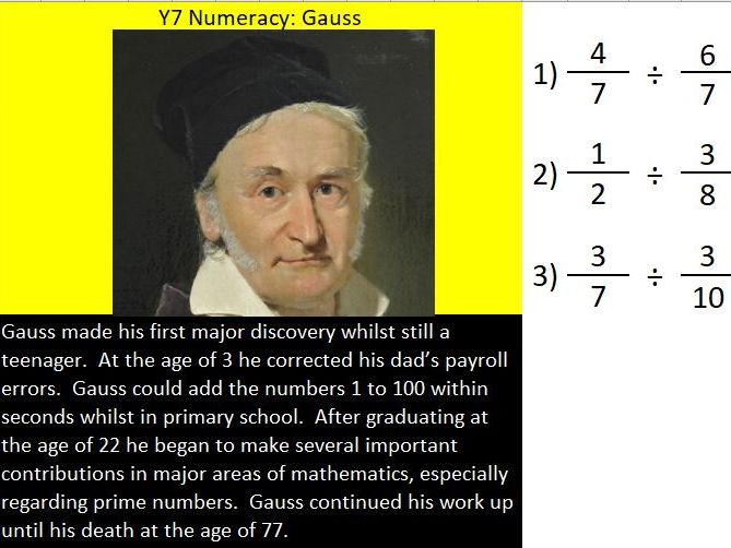 Basic skills maths starters Level 3 of 6:  Gauss