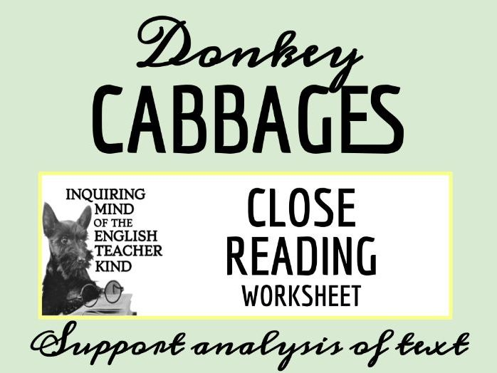 """Grimms' Fairy Tale """"Donkey Cabbages"""" Close Reading"""