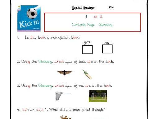 Floppy's Phonics (Level 1):Kick It - Comprehension Worksheet