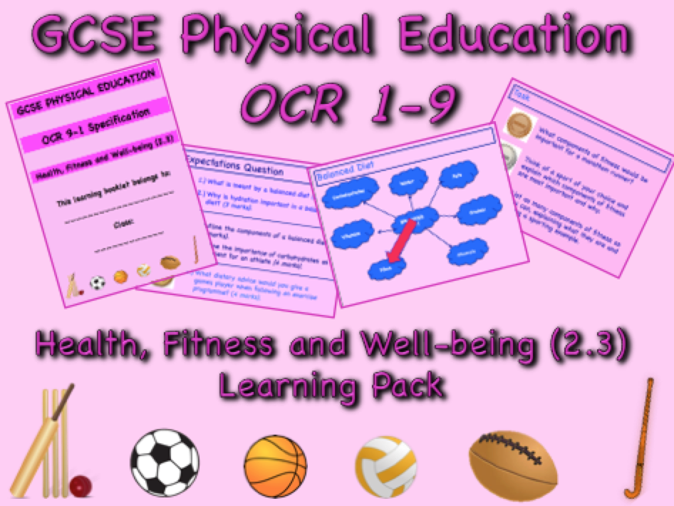 Health, Fitness and Well-being GCSE OCR PE (2.3) Complete Learning Pack