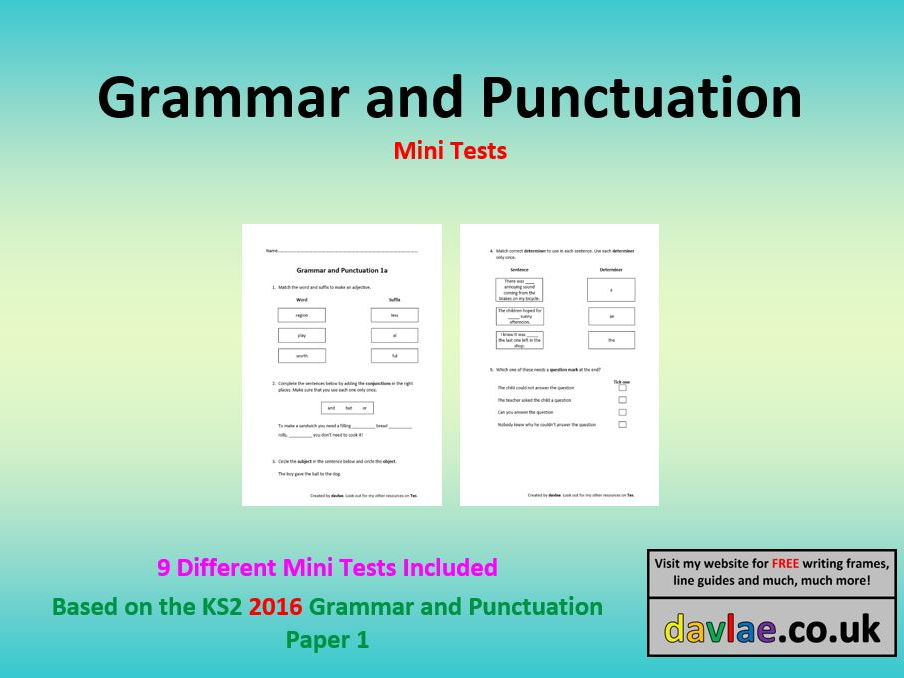 Grammar and Punctuation Mini-Tests based on 2016 Questions (9 Tests) Full Version