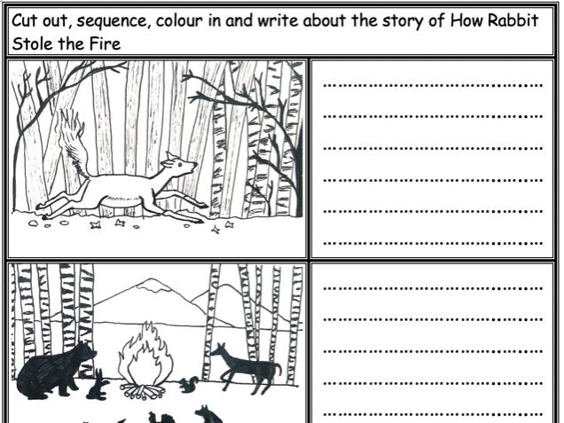 How Rabbit Stole the Fire: Cut, sequence, colour and write about the story