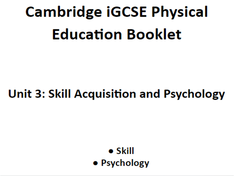 CIE IGCSE PE Unit 3 Lessons Powerpoints and Work Booklet