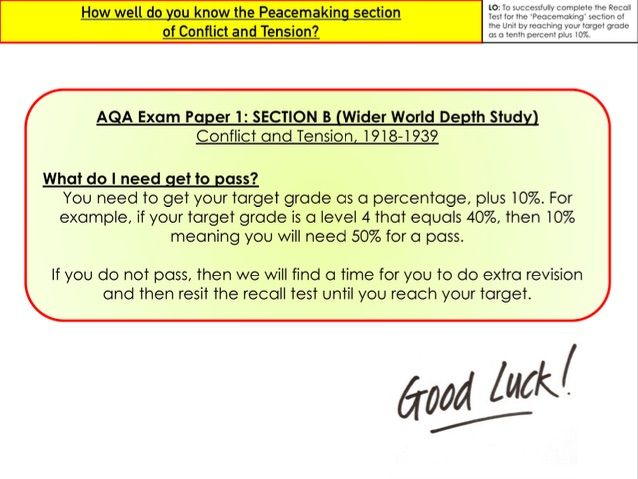 GCSE Conflict and Tension - Recall Test - Peacemaking Section
