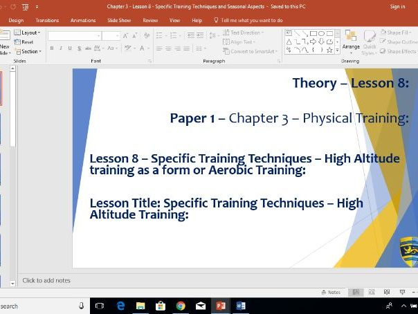 AQA GCSE PE (New Specification) Chapter 3: Physical Training - Specific Training Altitude - Lesson 8