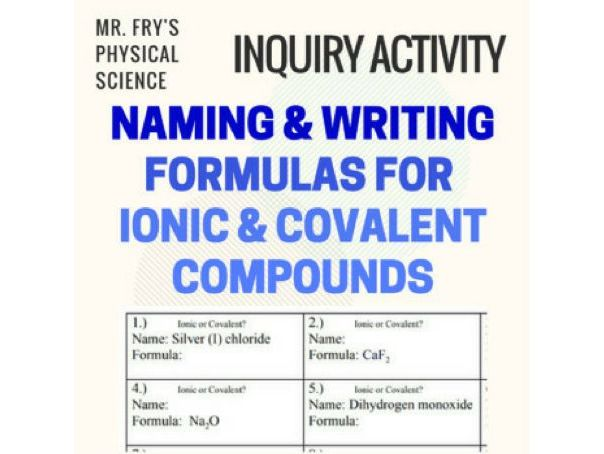 Writing & Naming Formulas for Ionic & Covalent Compounds  (HS-PS1-1)